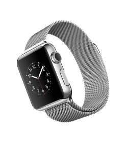 Silver apple watch with silver stainless steel metal band with magnetic closure