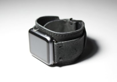 black Apple watch with carbon black cuff style watchband